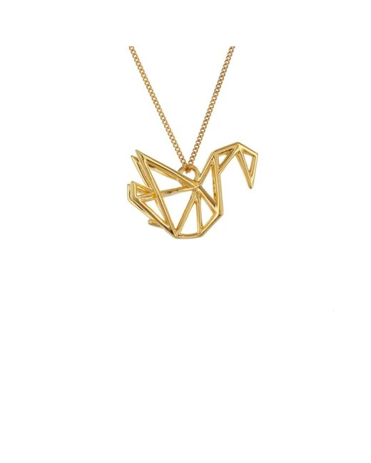 Origami Jewellery | Metallic Frame Swan Necklace Gold | Lyst