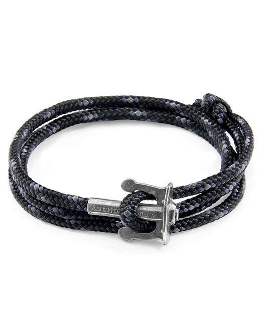 Anchor & Crew - Black Union Silver & Rope Bracelet for Men - Lyst