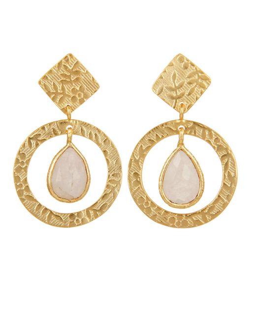 Carousel Jewels - Metallic Delicate Engraved Gold & Moonstone Drop Earrings - Lyst