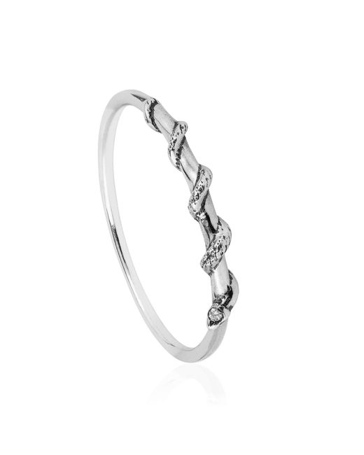 Lee Renee | Metallic Tiny Snake Ring Diamonds & Silver | Lyst
