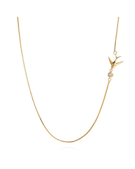 Lee Renee | Metallic Swallow Necklace White Sapphire & Gold | Lyst