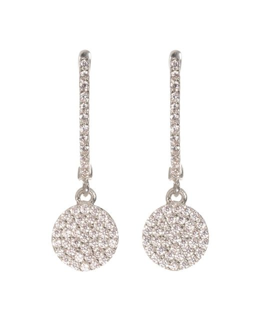 Talia Naomi | Metallic Golden Eclipse Pavé Earrings White Gold | Lyst