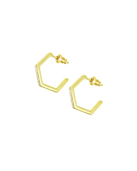 Tada & Toy | Metallic Crystallised Hexagon Hoops Gold | Lyst