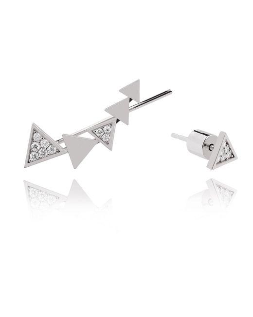 Astrid & Miyu - Metallic Black Magic Triangle Earrings In Silver - Lyst