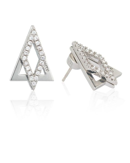 Astrid & Miyu | Metallic Diamond Ear Jacket In Silver | Lyst