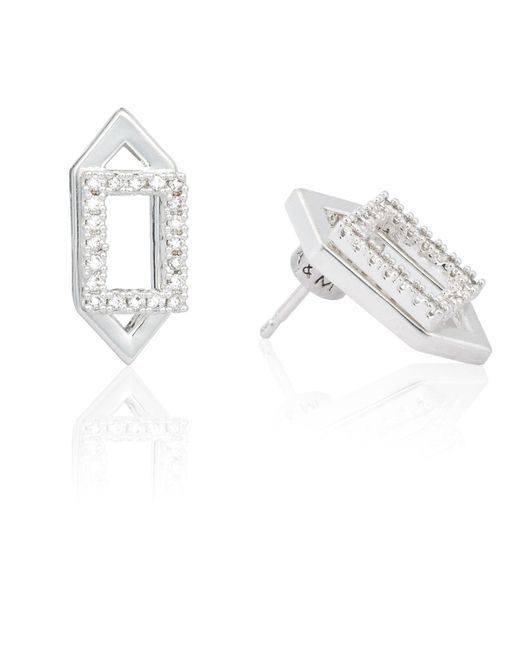 Astrid & Miyu | Metallic Rectangle Ear Jacket In Silver | Lyst