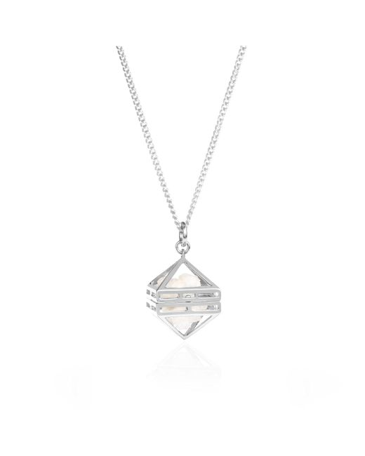 Sally Lane Jewellery - Multicolor Beauty Within Silver Cage Pendant With White Drusy Crystal - Lyst