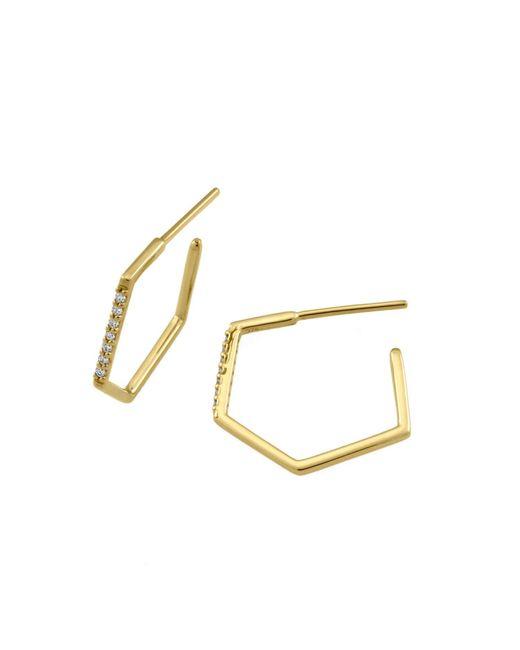 Monarc Jewellery | Metallic Fine Hexi Hoop Earrings 9ct Gold And Diamond | Lyst