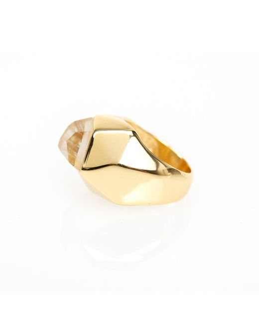 Ona Chan Jewelry | Metallic Lattice Cocktail Ring Gold | Lyst