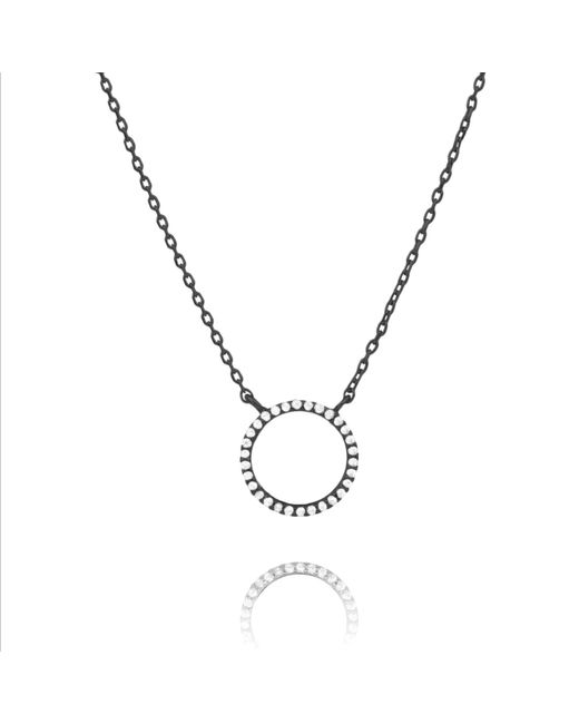 Astrid & Miyu - Multicolor Tuxedo Circle Necklace In Gunmetal - Lyst