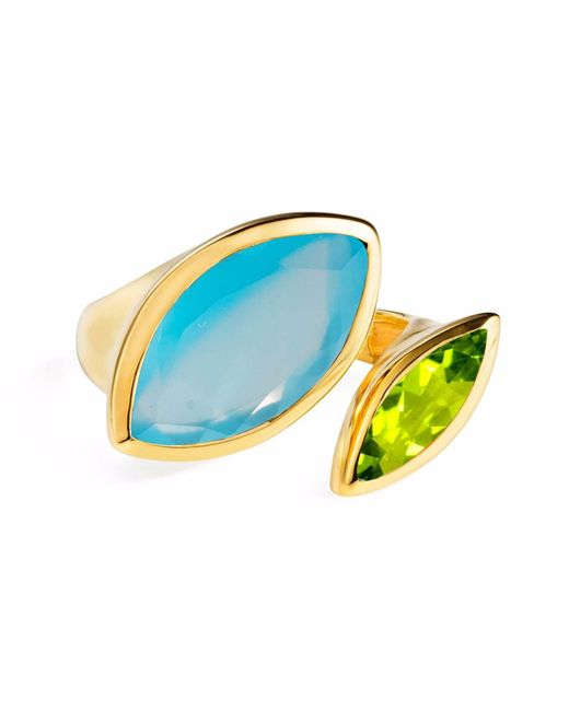 Neola - Metallic Celestine Gold Ring Chalcedony & Peridot - Lyst