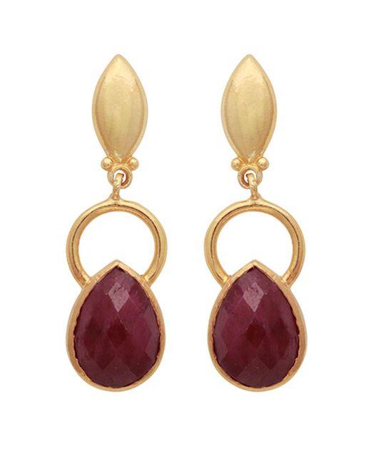Carousel Jewels - Metallic Gold Ring & Teardrop Dyed Ruby Earrings - Lyst