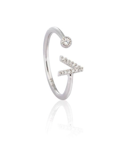 Astrid & Miyu - Metallic Silver Initial V Ring - Lyst
