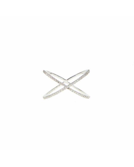 Ri Noor - Metallic Diamond Thin X Ring - Lyst