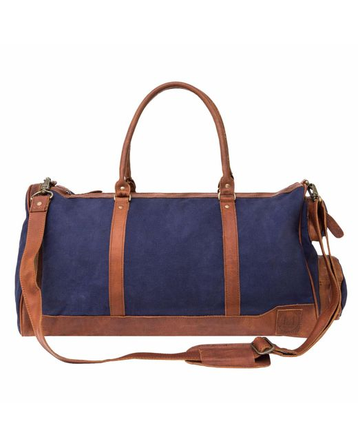 MAHI Leather - Canvas Leather Columbus Holdall/duffle Weekend/overnight Bag In Navy Blue for Men - Lyst