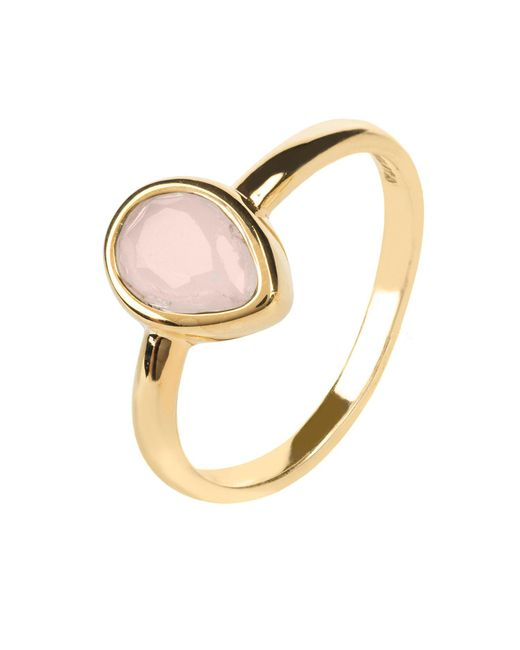 Latelita London - Metallic Pisa Mini Teardrop Ring Gold Rose Quartz - Lyst