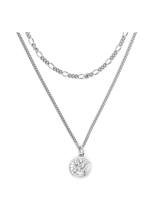 Serge Denimes - Metallic Silver St Christopher Multi Chain Necklace for Men - Lyst