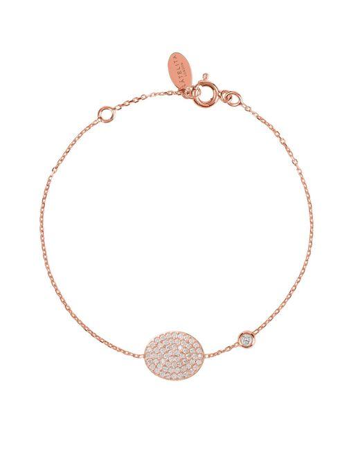 Latelita London - Metallic Pavé Oval Disc Bracelet Rosegold - Lyst