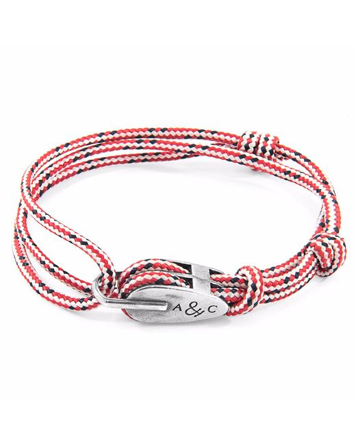 Anchor & Crew | Red Dash Tyne Silver & Rope Bracelet for Men | Lyst