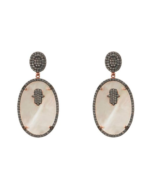 Latelita London - Hamsa White Mother Of Pearl Oval Earring - Lyst
