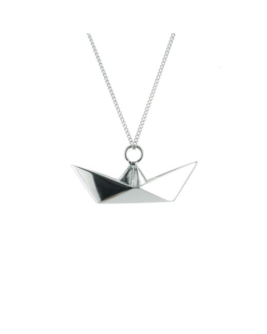 Origami Jewellery - Metallic Boat Necklace Sterling Silver - Lyst