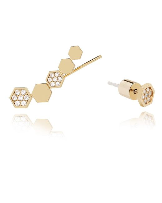 Astrid & Miyu | Metallic Black Magic Hexagon Earrings In Gold | Lyst