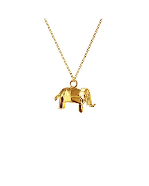 Origami Jewellery | Metallic Mini Elephant Necklace Gold | Lyst