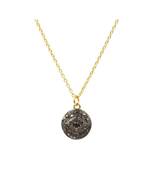 Latelita - Metallic Diamond & Sapphire Evil Eye Necklace Gold - Lyst