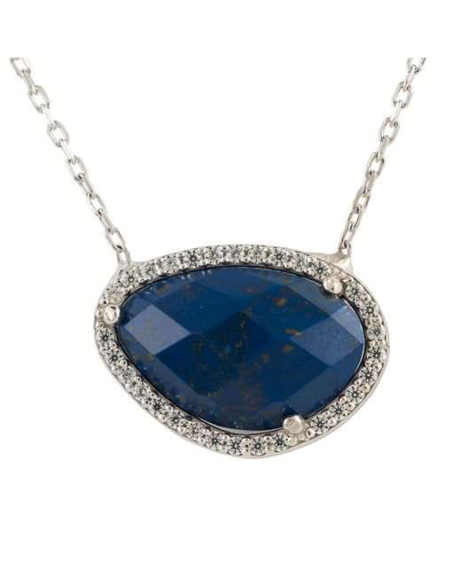Latelita London - Metallic Sofia Lapis Lazuli Gemstone Necklace Silver - Lyst