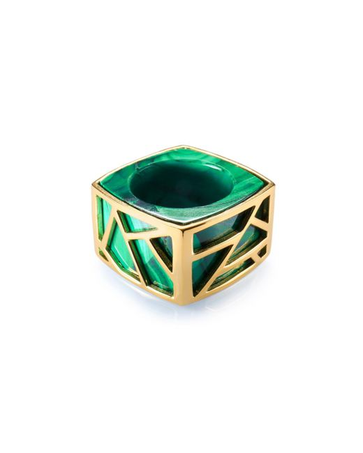 Ona Chan Jewelry | Green Square Cocktail Ring Malachite | Lyst