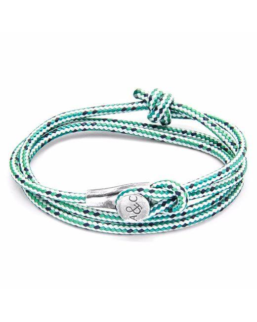 Anchor & Crew | White Green Dash Clyde Silver & Rope Bracelet for Men | Lyst
