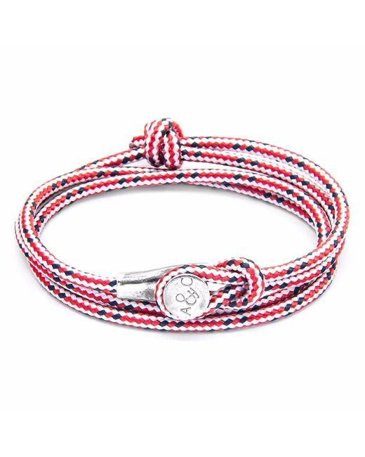 Anchor & Crew | Red Dash Dundee Silver & Rope Bracelet for Men | Lyst