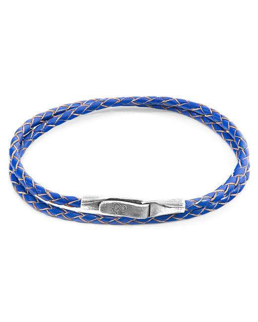 Anchor & Crew - Royal Blue Liverpool Silver & Leather Bracelet for Men - Lyst