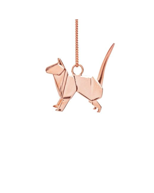 Origami Jewellery | Metallic Cat Necklace Rose Gold | Lyst