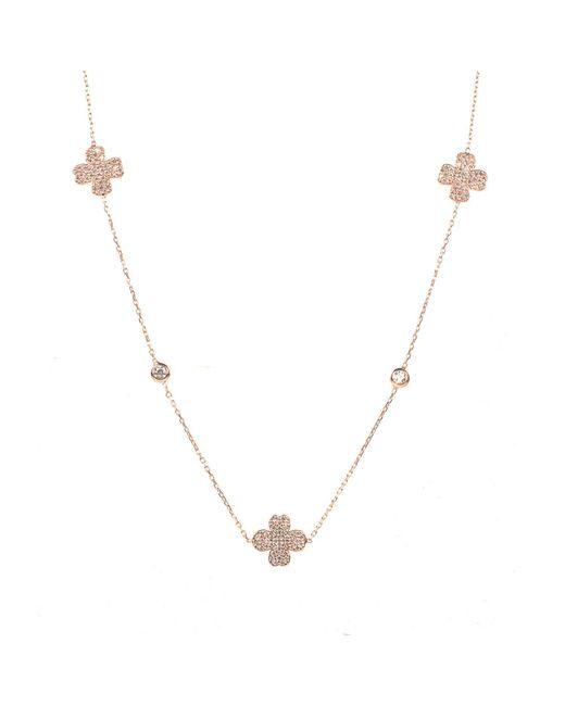 Latelita London - Metallic Lucky Clover Long Necklace Rosegold - Lyst