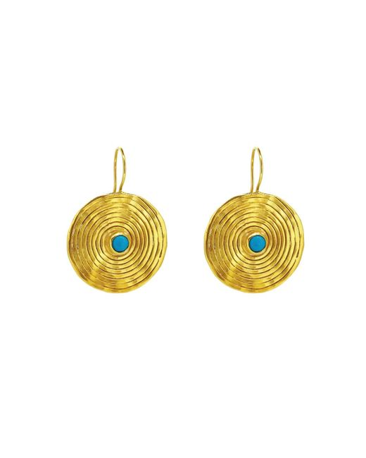Yvonne Henderson Jewellery - Metallic Statement Coil Drop Earrings With Turquoise - Lyst