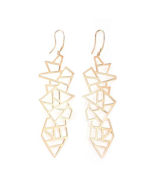 Ona Chan Jewelry   Metallic Long Multi Lattice Drop Earrings Rose Gold   Lyst