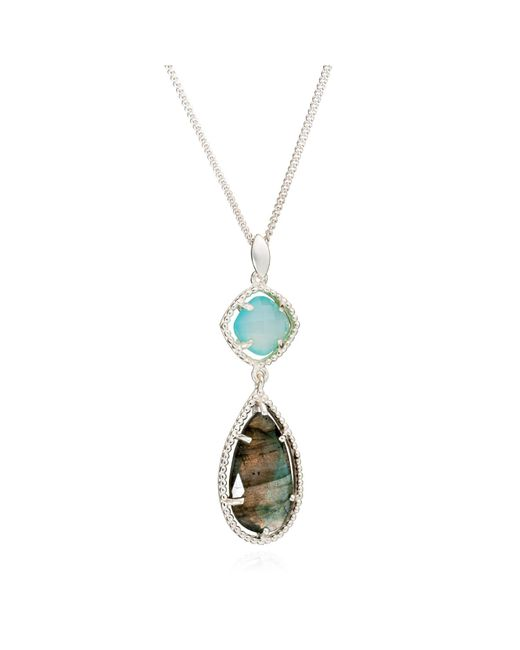Azuni London | Metallic Delphi Diametric Necklace In Aqua & Labradorite | Lyst