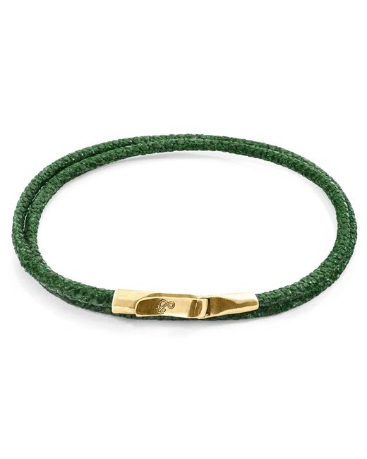 Anchor & Crew - Multicolor Racing Green Liverpool Yellow Gold & Stingray Leather Bracelet for Men - Lyst