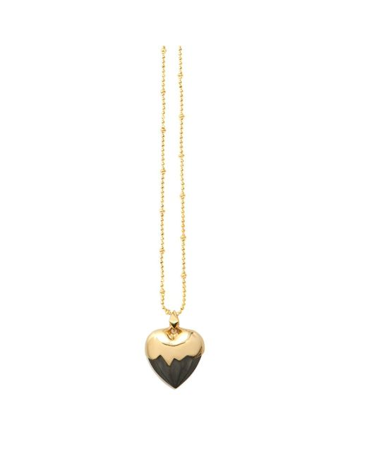 Kasun - Metallic Black Heart Pendant Gold - Lyst