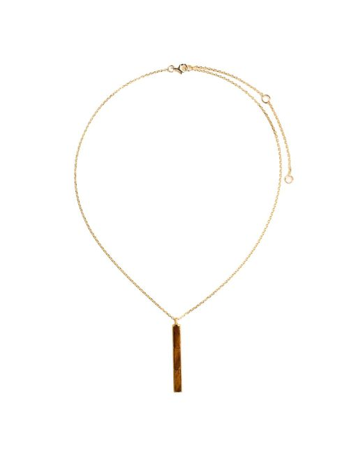 Ona Chan Jewelry   Brown Rectangle Pendant With Tiger's Eye   Lyst