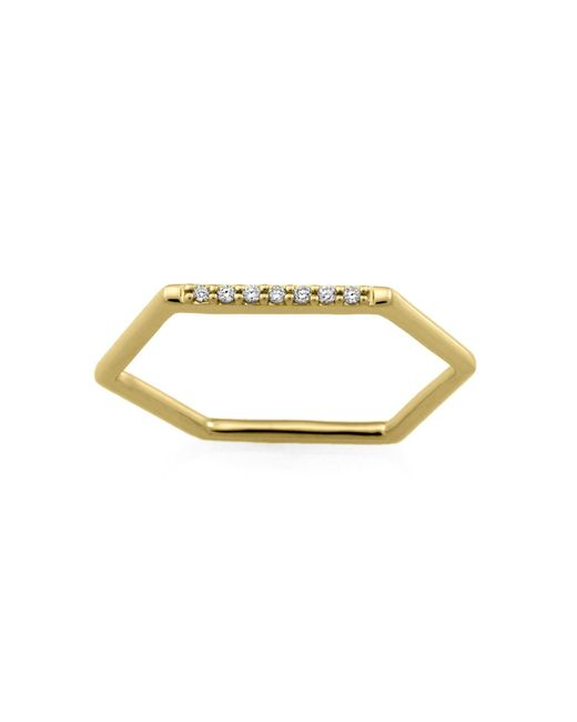Monarc Jewellery - Metallic The Pave Hexi Stacker Ring 9ct Gold And Diamond - Lyst