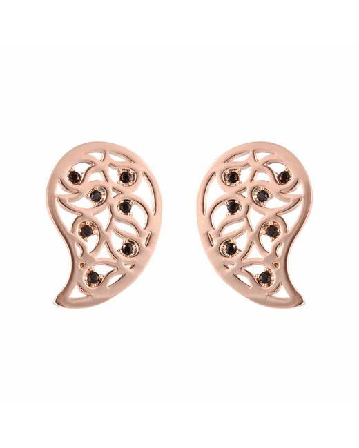 Sonal Bhaskaran   Pink Reya Rose Gold Paisley Earrings Clear Cz   Lyst