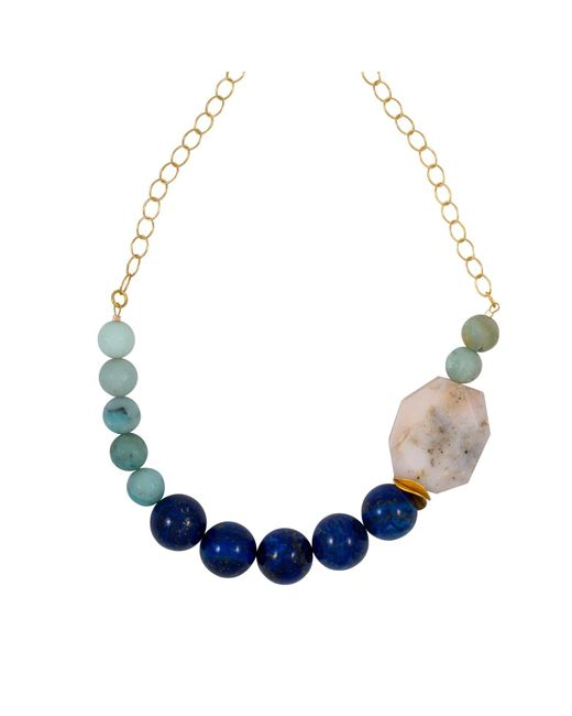 Magpie Rose - Blue Lapis Lazuli & Peruvian Pink Opal Necklace - Lyst