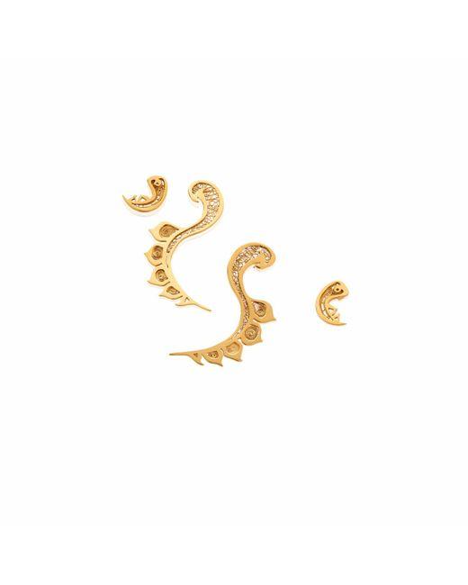 Nooneh London - Metallic Nefertiti Double-sided Statement Earrings Gold - Lyst