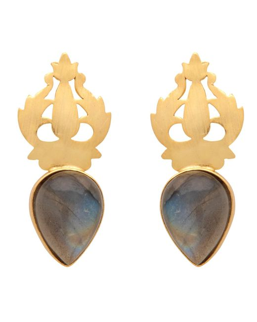 Carousel Jewels - Metallic Handcarved Gold & Labradorite Earrings - Lyst