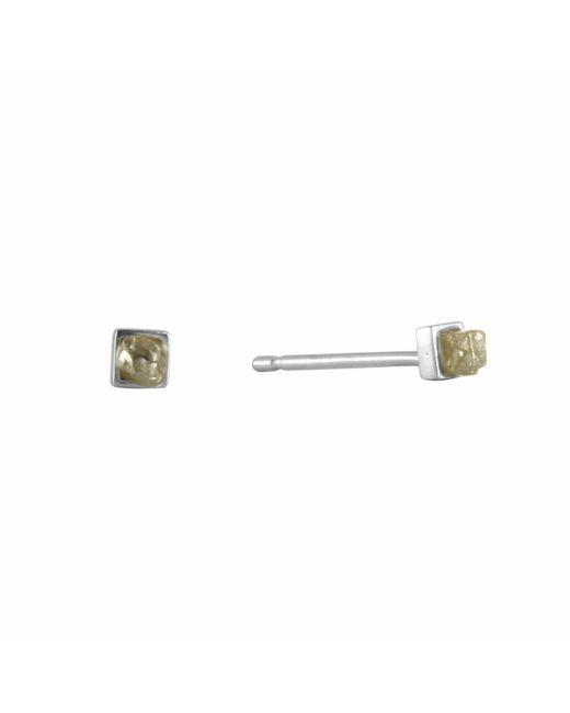 No 13 - Multicolor Cube Rough Diamond Stud Earrings - Lyst