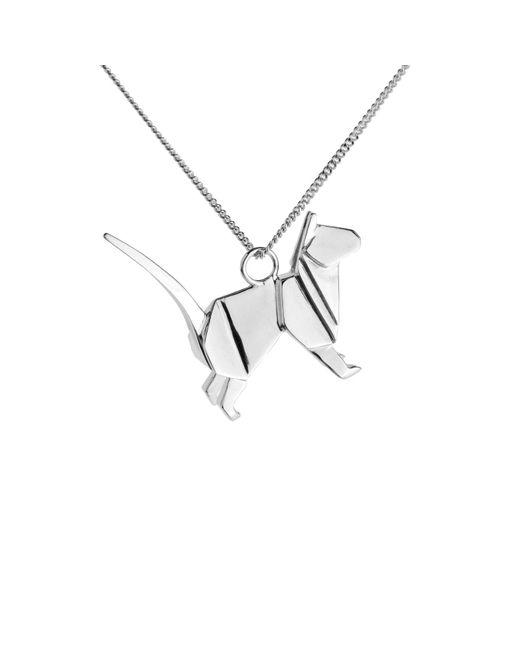 Origami Jewellery - Metallic Cat Necklace Silver - Lyst