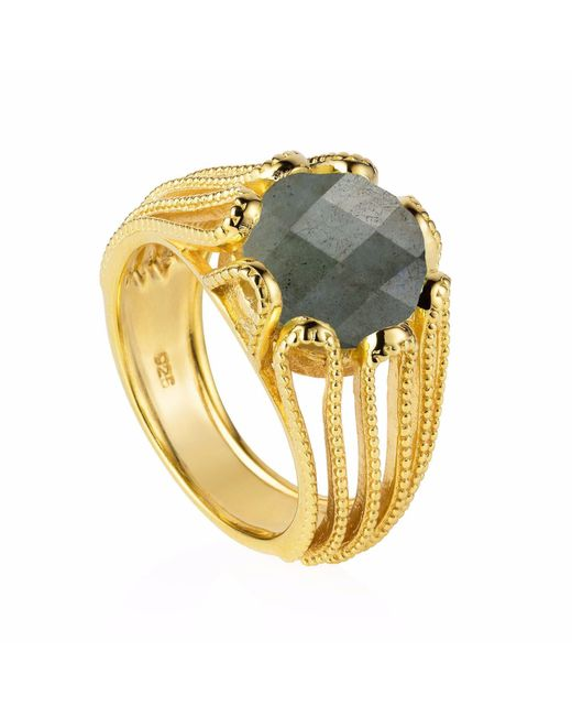 Neola - Metallic Alessia Gold Cocktail Ring With Labradorite - Lyst