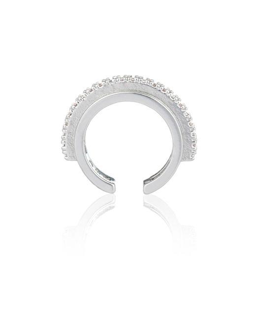 Astrid & Miyu - Metallic Fitzgerald Circle Ear Cuff In Silver - Lyst